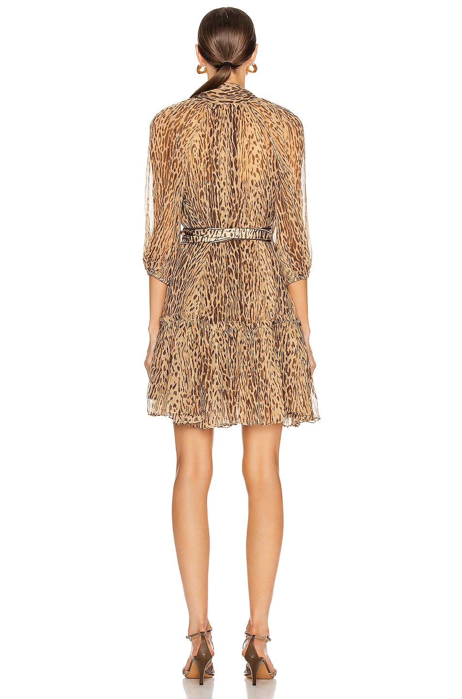 Image 3 of Zimmermann Espionage Neck Tie Mini Dress in Animal