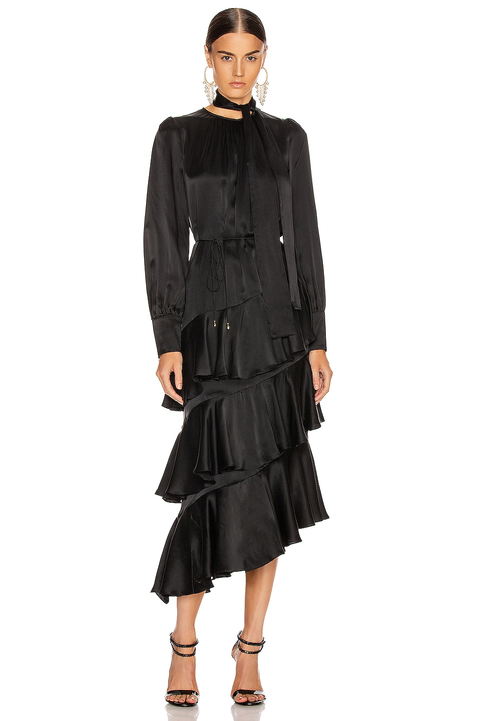 Image 1 of Zimmermann Espionage Silk Flounce Dress in Black