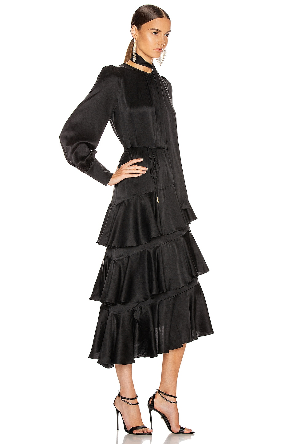 Image 2 of Zimmermann Espionage Silk Flounce Dress in Black