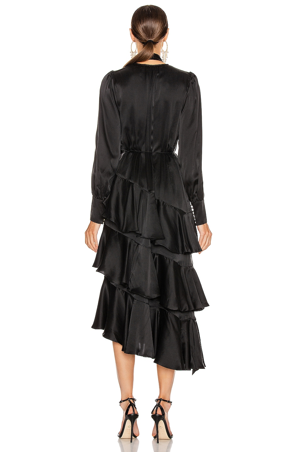 Image 3 of Zimmermann Espionage Silk Flounce Dress in Black