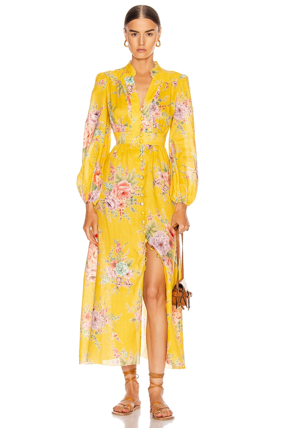 Image 1 of Zimmermann Zinnia Button Front Long Dress in Golden Floral