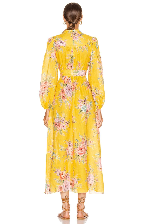 Image 3 of Zimmermann Zinnia Button Front Long Dress in Golden Floral