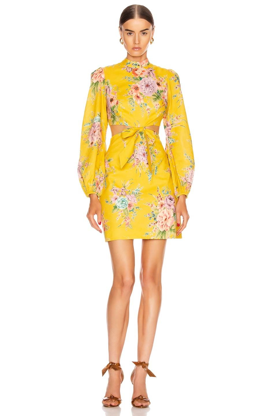 Image 1 of Zimmermann Zinnia Bow Cut Out Short Dress in Golden Floral
