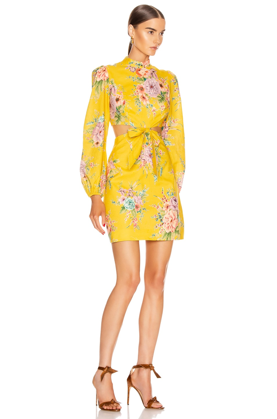 Image 2 of Zimmermann Zinnia Bow Cut Out Short Dress in Golden Floral