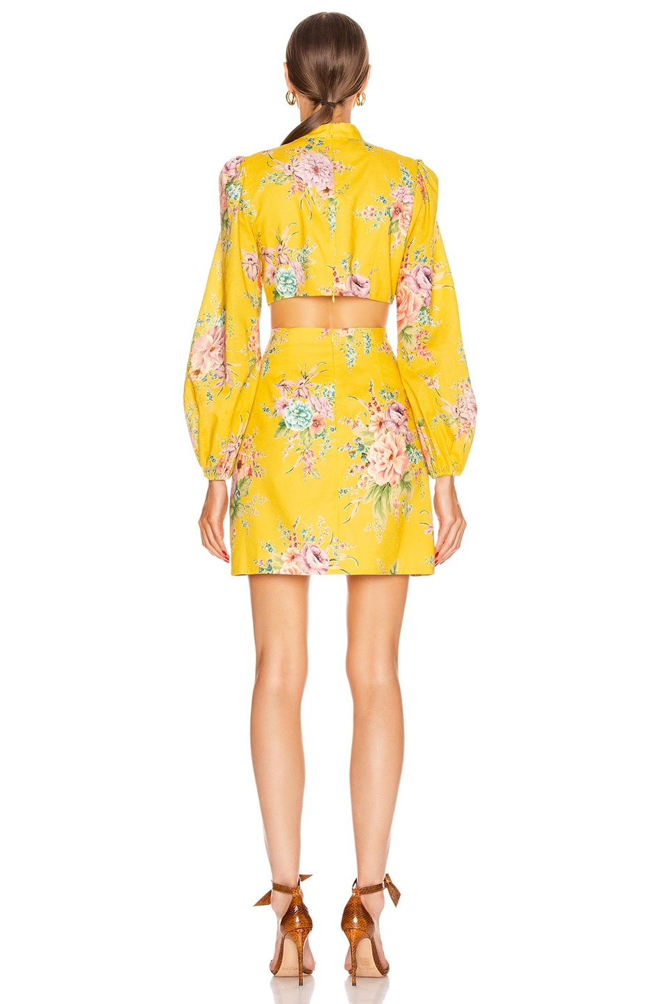 Image 3 of Zimmermann Zinnia Bow Cut Out Short Dress in Golden Floral