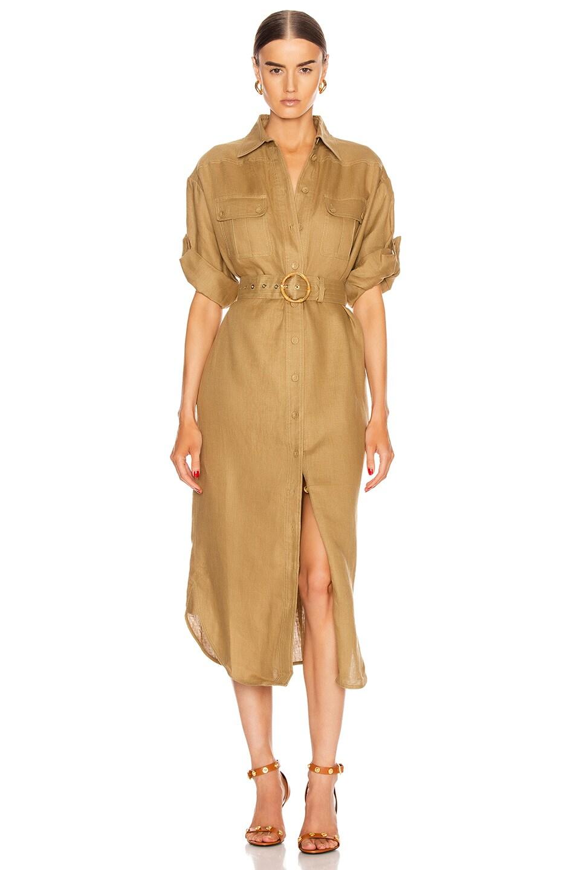 Image 1 of Zimmermann Super Eight Safari Midi Dress in Khaki