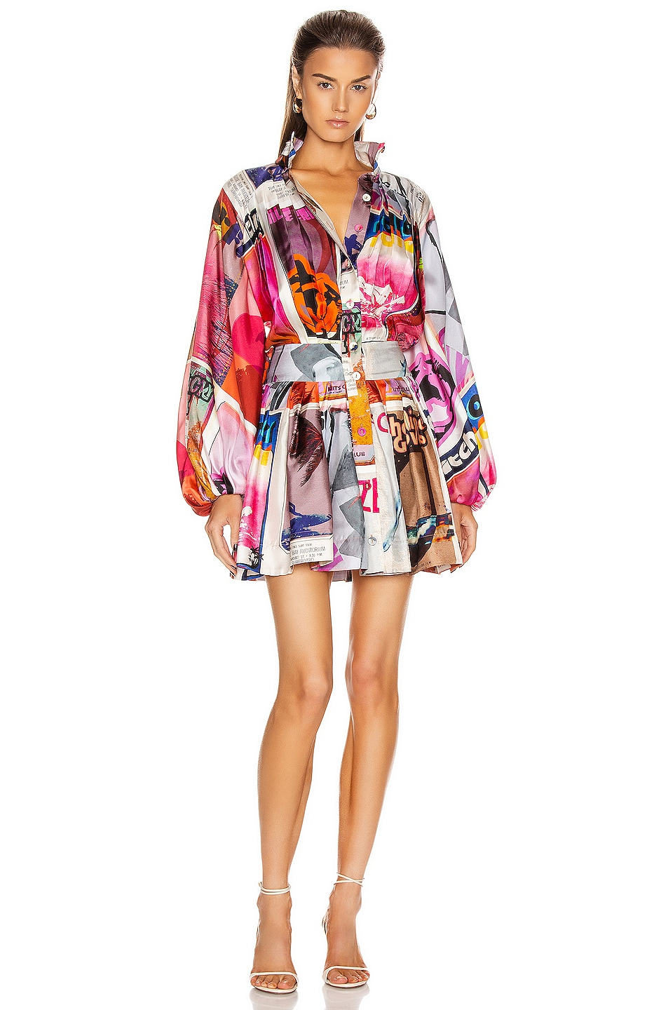 Image 1 of Zimmermann Wavelength Long Sleeve Mini Dress in Pink Poster Print