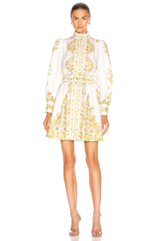 Image 2 of Zimmermann Super Eight Tubular Mini Dress in Pink Meadow