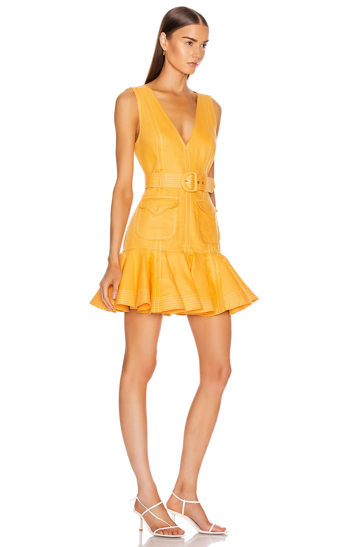 Image 2 of Zimmermann Super Eight Safari Mini Dress in Mango