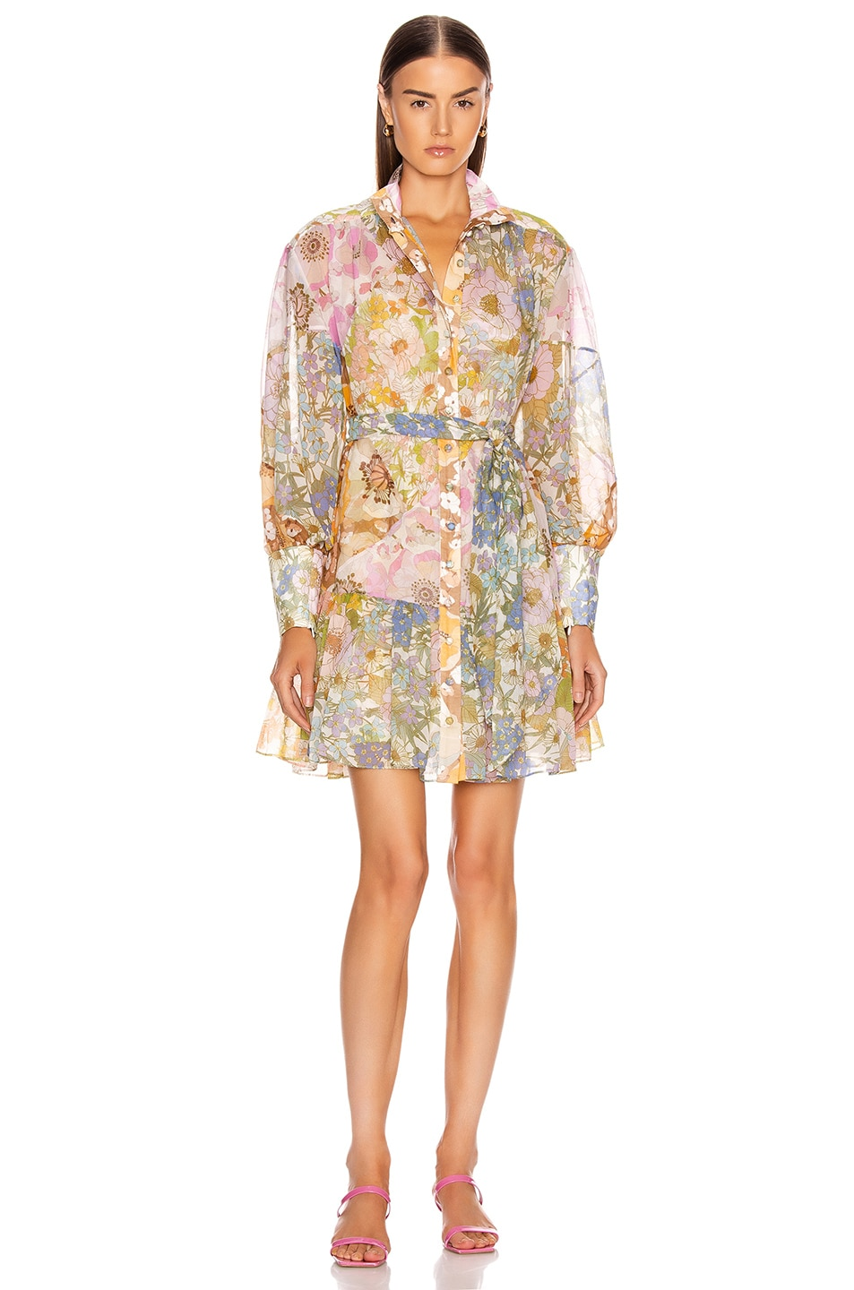 Image 1 of Zimmermann Super Eight Lantern Mini Dress in Mixed Floral