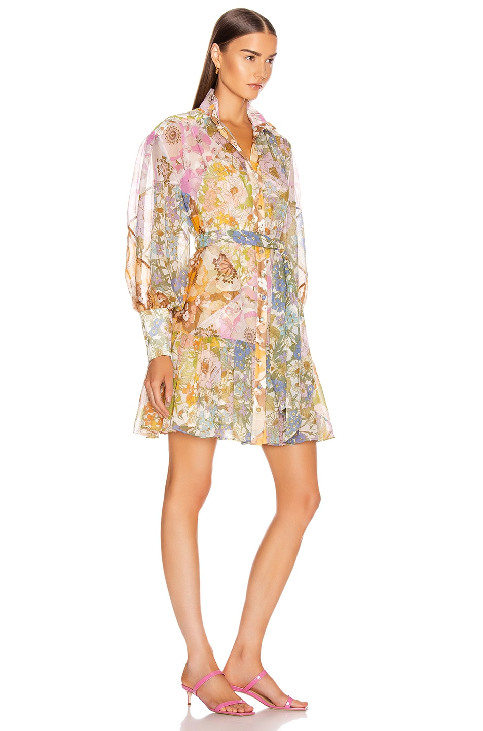 Image 2 of Zimmermann Super Eight Lantern Mini Dress in Mixed Floral