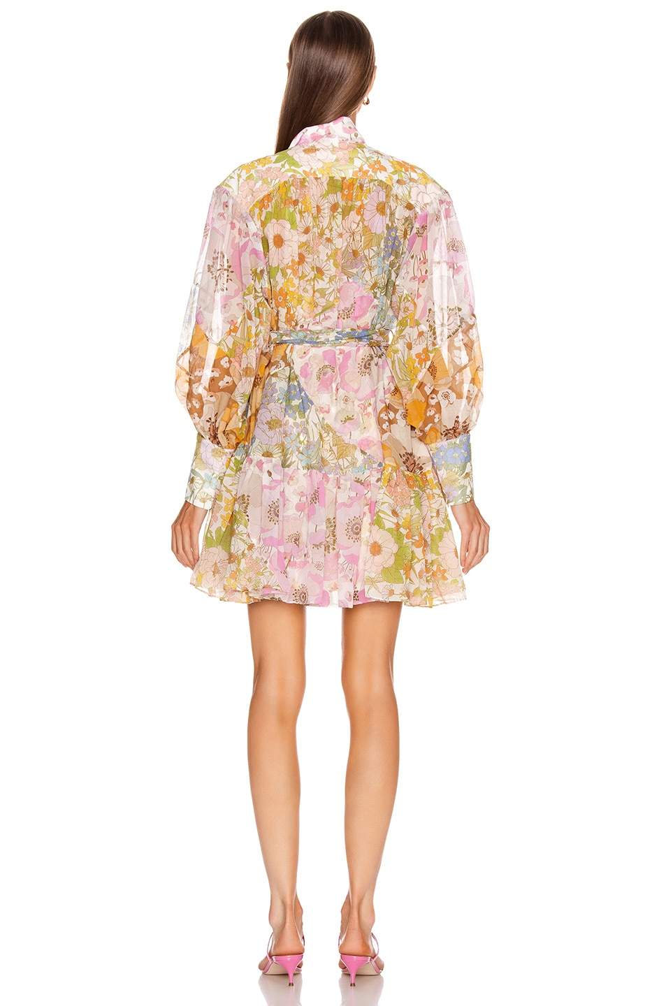 Image 3 of Zimmermann Super Eight Lantern Mini Dress in Mixed Floral