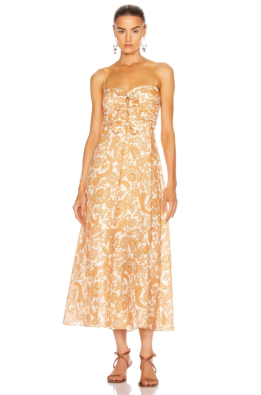 Image 1 of Zimmermann Peggy Off Shoulder Tie Dress in Orange Paisley