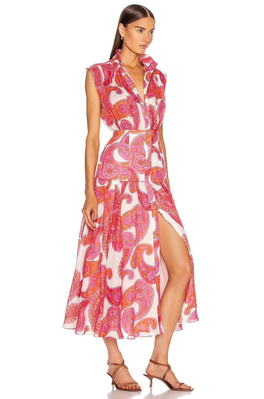 Image 2 of Zimmermann Peggy Sleeveless Shirt Dress in Magenta Ivory Paisley