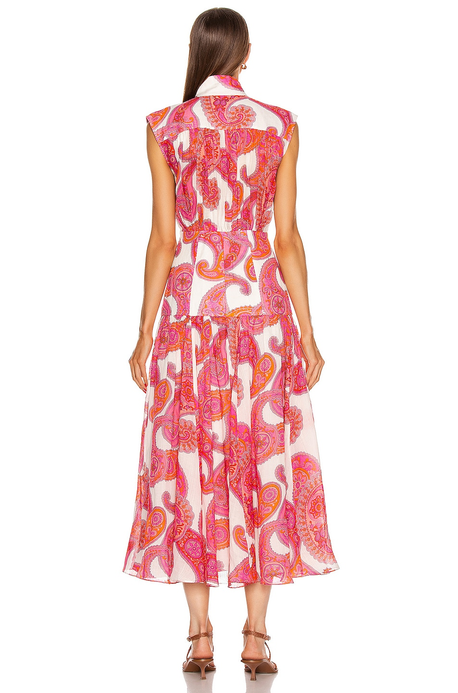 Image 3 of Zimmermann Peggy Sleeveless Shirt Dress in Magenta Ivory Paisley