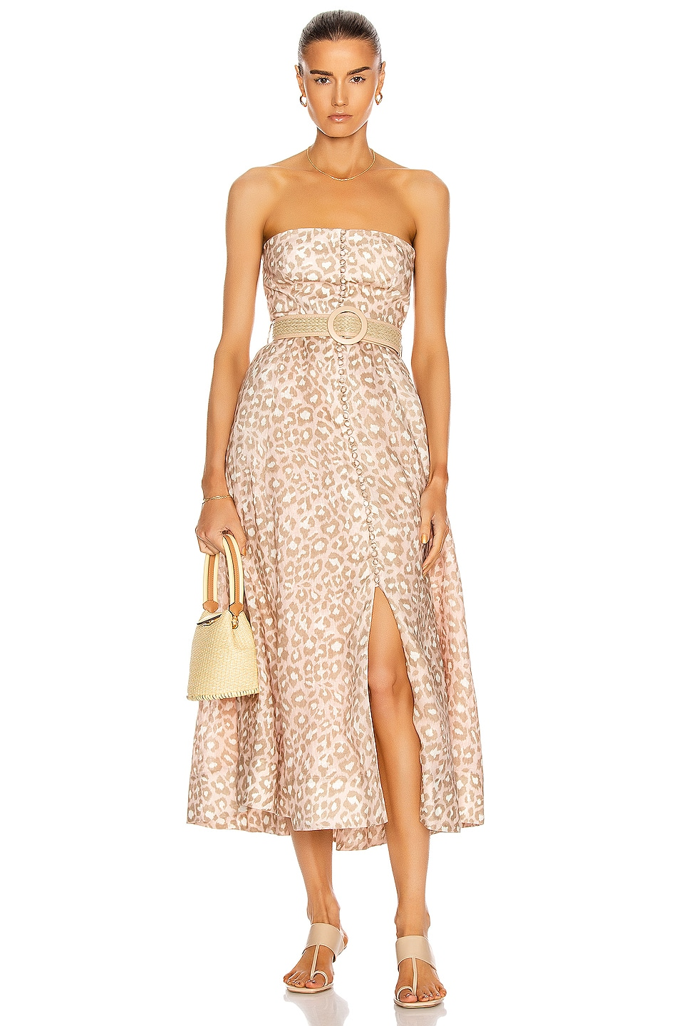 Image 1 of Zimmermann Carnaby Bustier Midi Dress in Pink Leopard