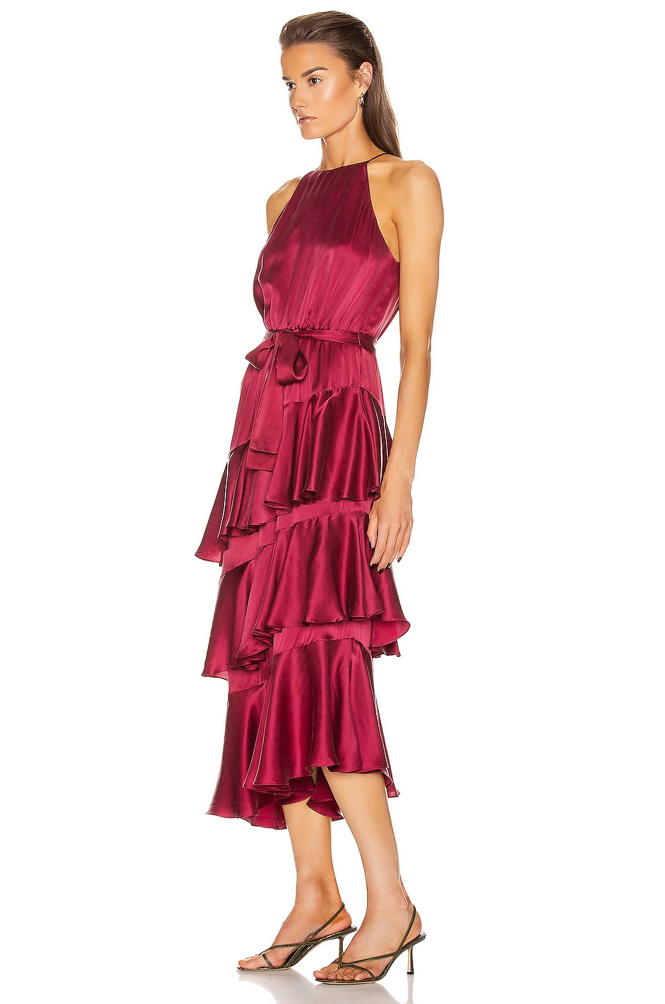 Image 3 of Zimmermann Silk Picnic Dress in Berry