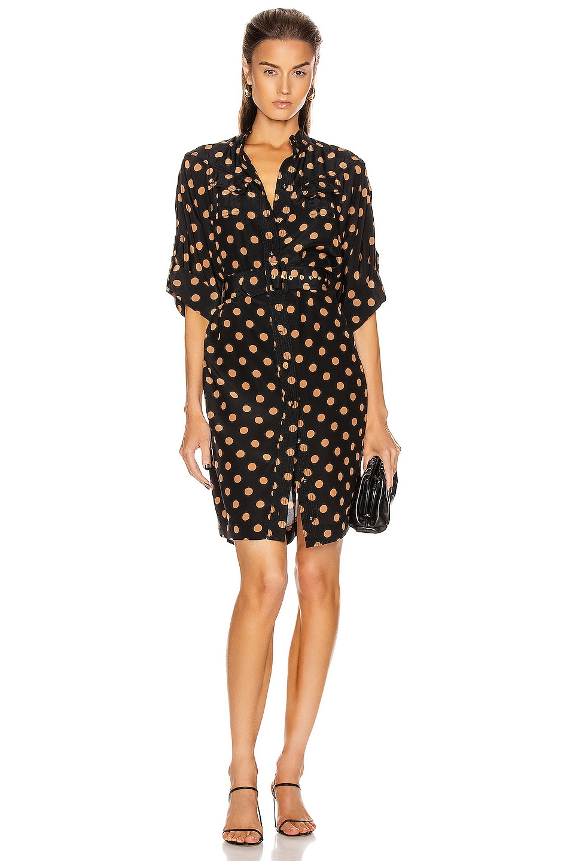 Image 1 of Zimmermann Silk Utility Mini Dress in Black & Tan Dot