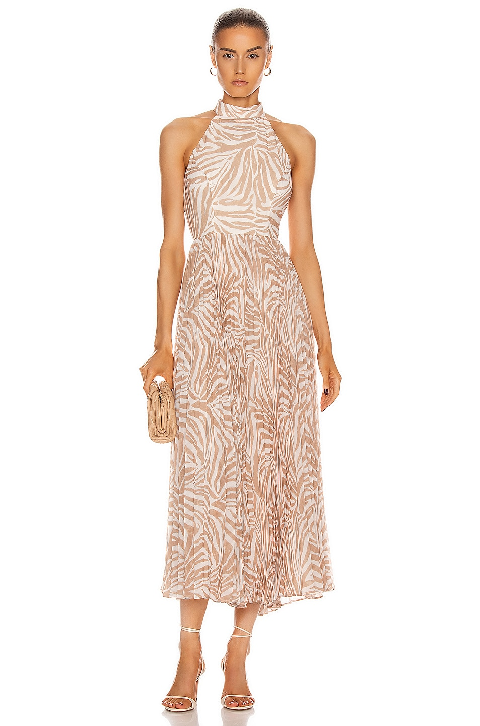 Image 1 of Zimmermann Sunray Picnic Dress in Sand Zebra