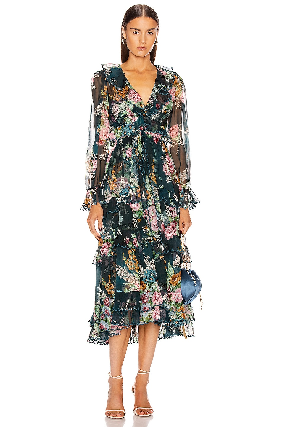 Image 1 of Zimmermann Wavelength Scallop Frill Midi Dress in Teal Daphne