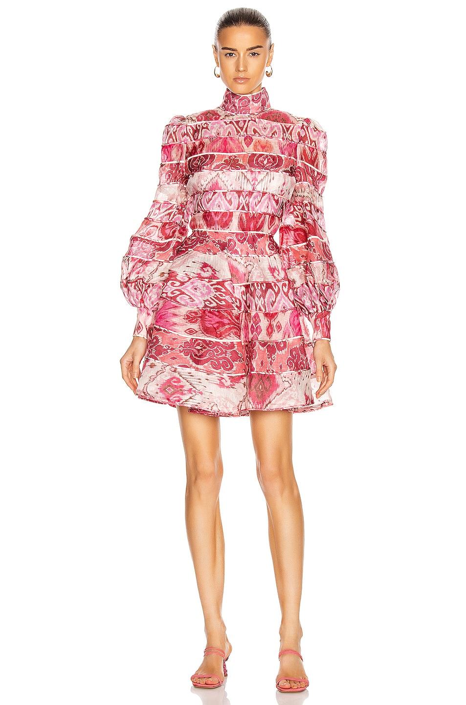 Image 1 of Zimmermann Wavelength Spliced Mini Dress in Spliced Pink Ikat