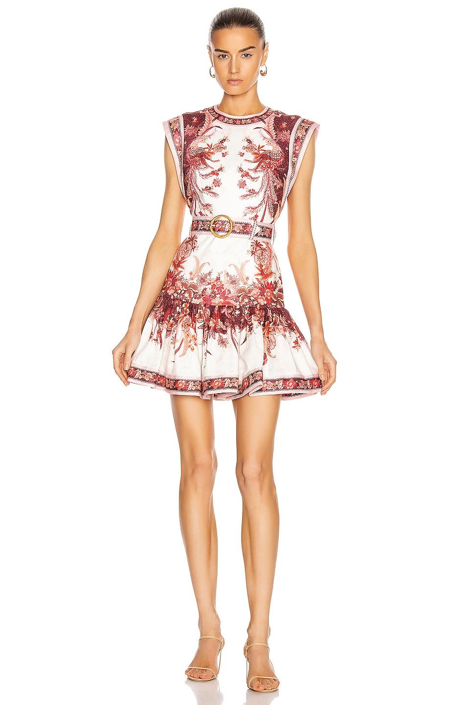 Image 1 of Zimmermann Wavelength Fluted Mini Dress in Red Phoenix