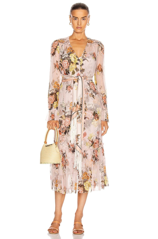Image 1 of Zimmermann Brightside Lantern Sleeve Midi Dress in Blush Daphne