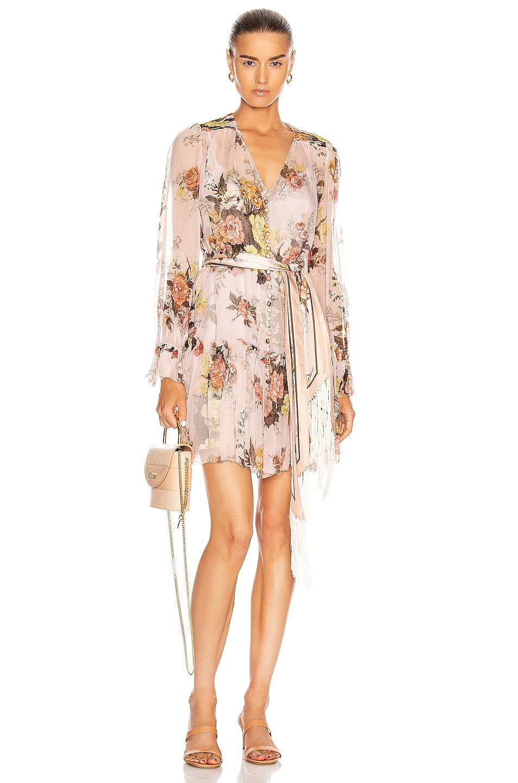 Image 1 of Zimmermann Brightside Lantern Sleeve Mini Dress in Blush Daphne