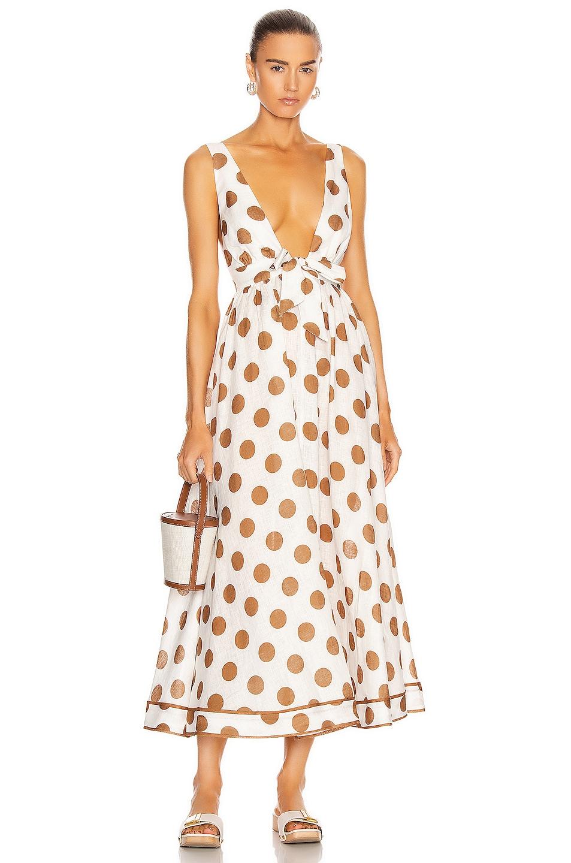 Image 1 of Zimmermann Empire Tie Front Long Dress in Tan Dot