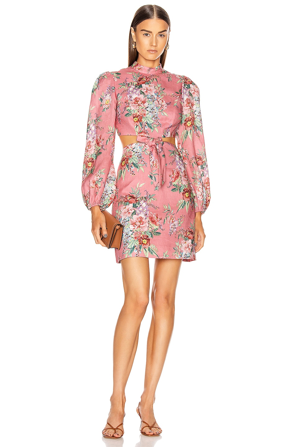 Image 1 of Zimmermann Bellitude Bow Cut Out Short Dress in Watermelon