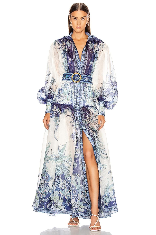 Image 1 of Zimmermann Glassy Billow Dress in Navy Phoenix