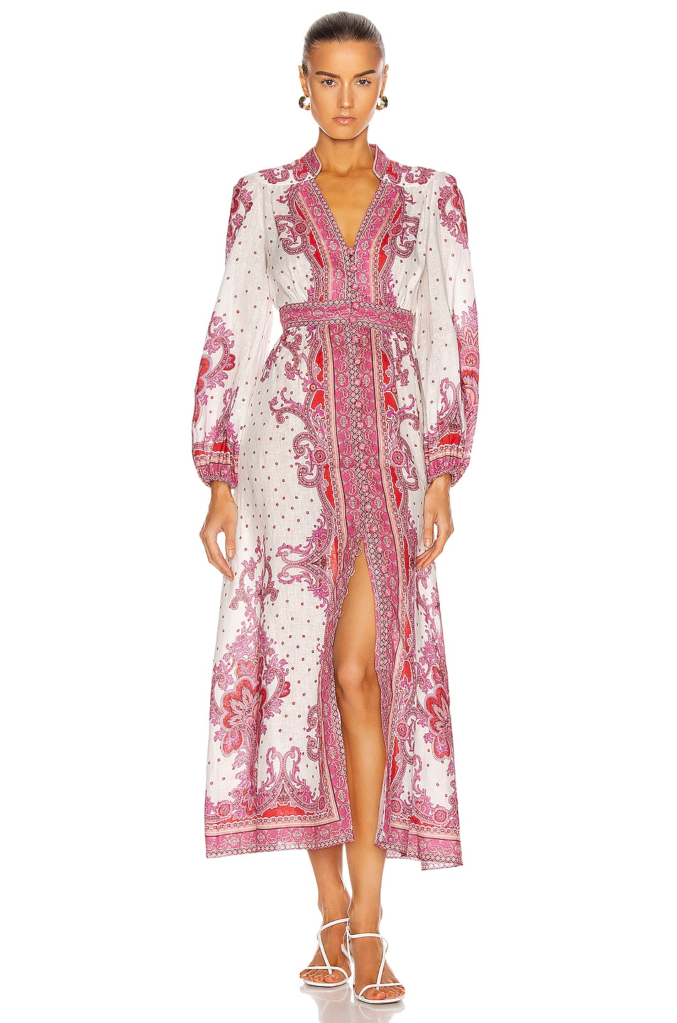 Image 1 of Zimmermann Bells Paisley Long Dress in Red Paisley