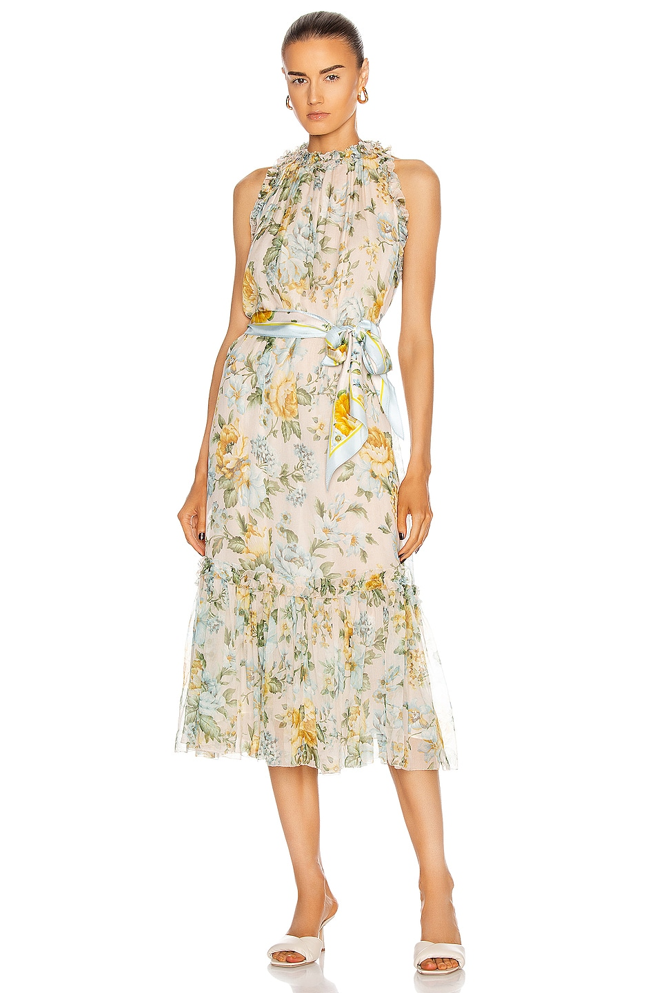 Image 1 of Zimmermann Lucky Tuxedo Frill Dress in Sky Floral