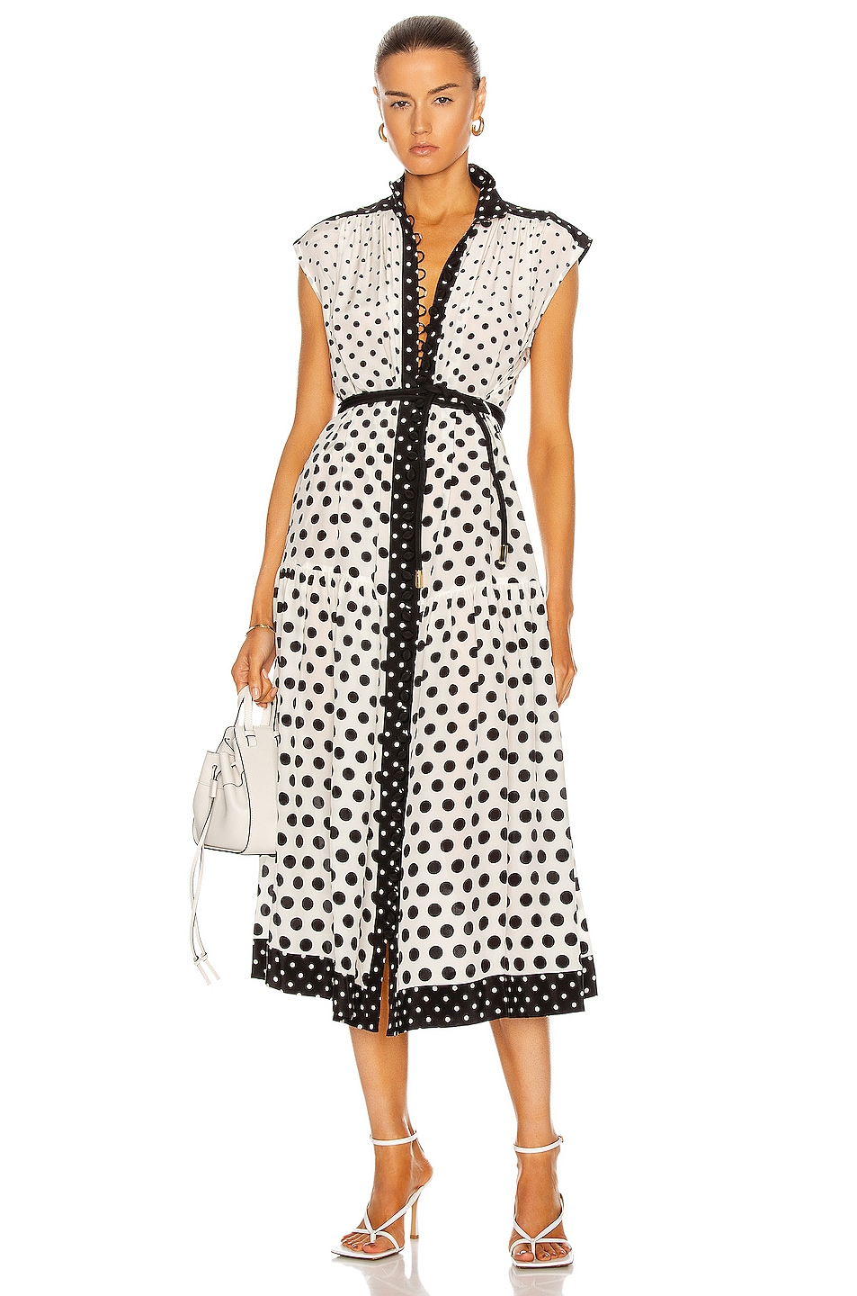 Image 1 of Zimmermann Silk High Neck Midi Dress in Cream & Black Spot