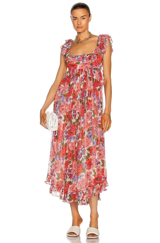 Image 1 of Zimmermann Poppy Frill Edge Midi Dress in Crimson Floral