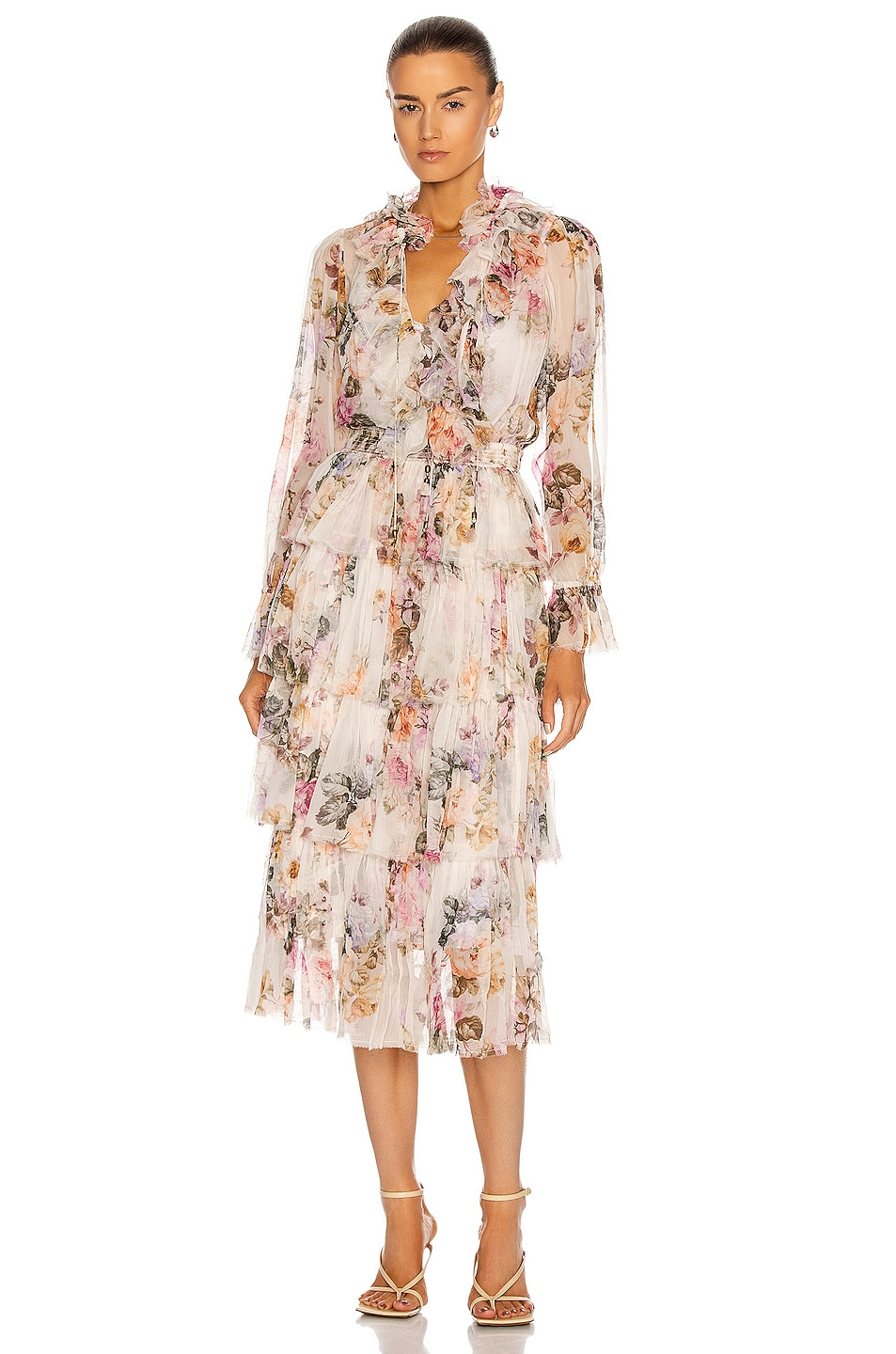 Image 1 of Zimmermann Brighton Tiered Frill Dress in Antique Floral