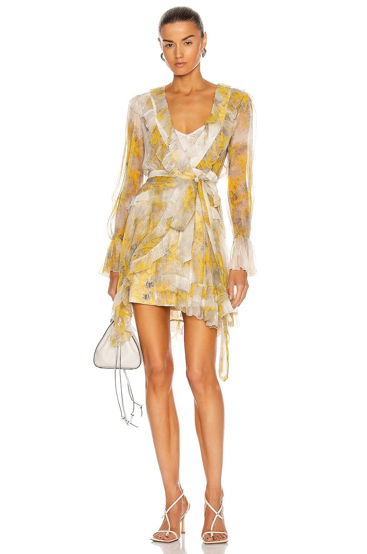 Image 1 of Zimmermann Botanica Frill Wrap Dress in Wattle Print