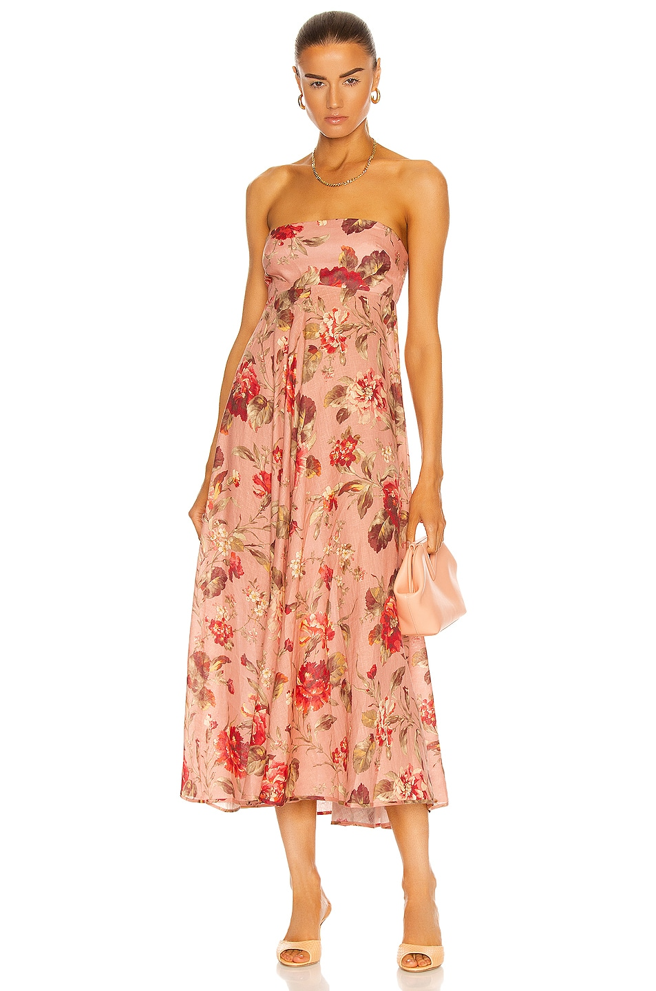Image 1 of Zimmermann Cassia Bandeau Midi Dress in Musk Floral