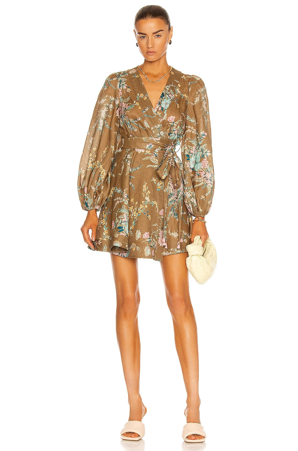 Image 1 of Zimmermann Cassia Wrap Short Dress in Brown Floral