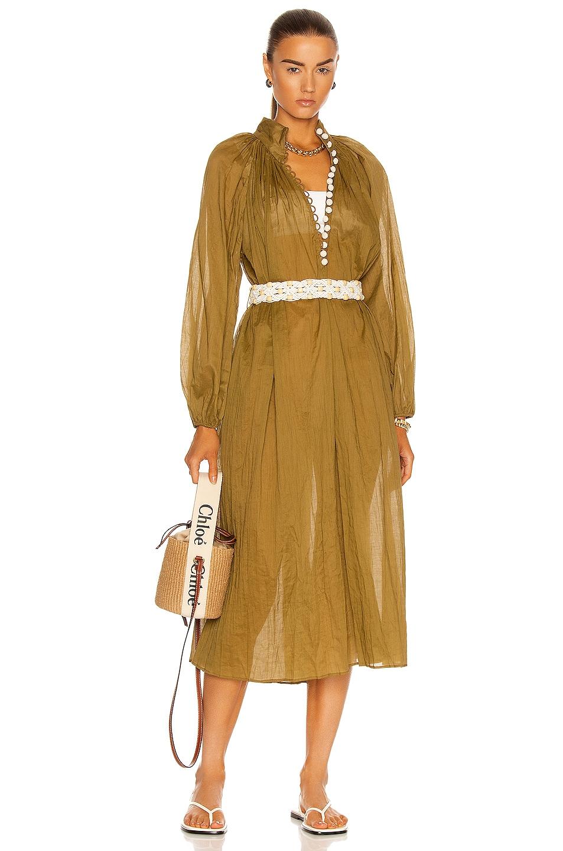 Image 1 of Zimmermann Cassia Crinkle Shirt Dress in Coffee