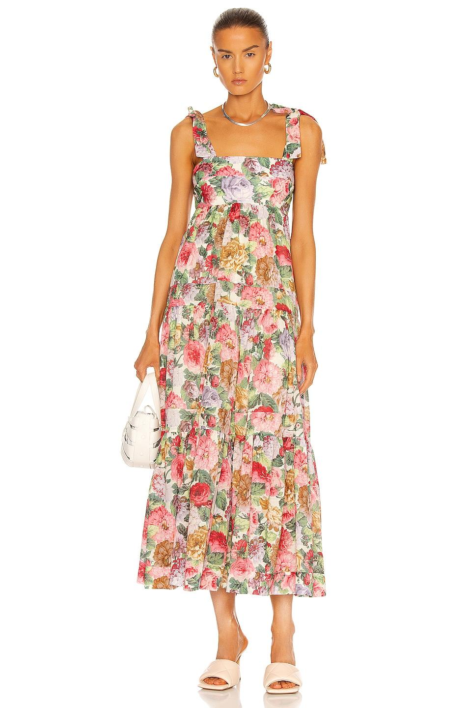 Image 1 of Zimmermann Mae Tie Shoulder Dress in Rose Floral