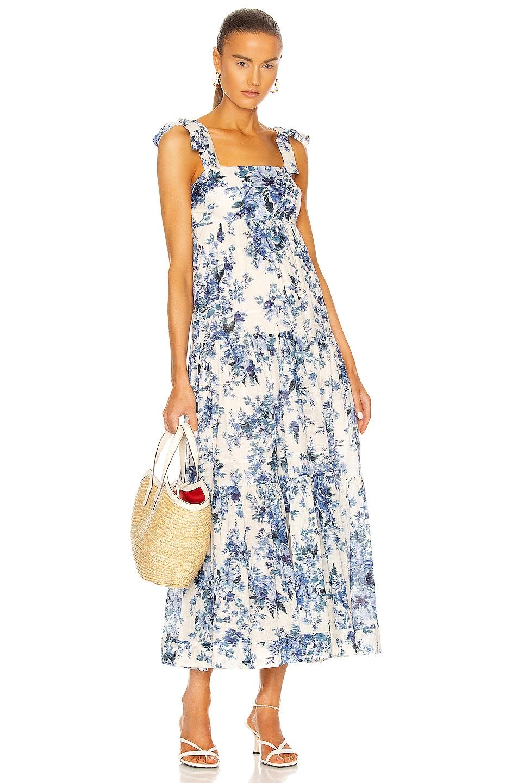 Image 1 of Zimmermann Aliane Tie Shoulder Dress in Blue Floral