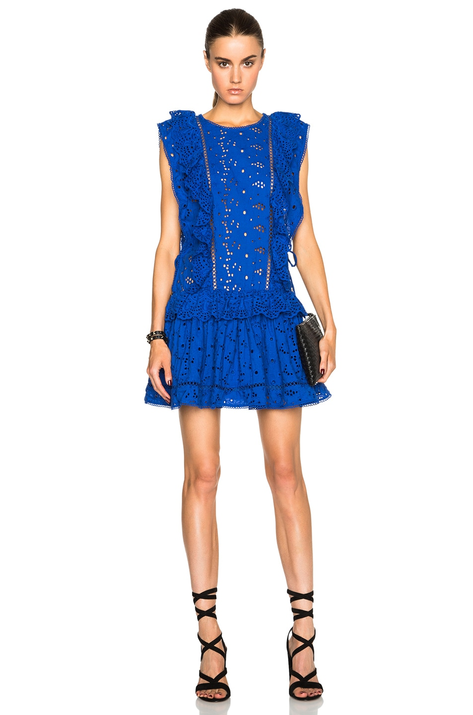 Image 1 of Zimmermann Hyper Eyelet Flip Dress in Electric