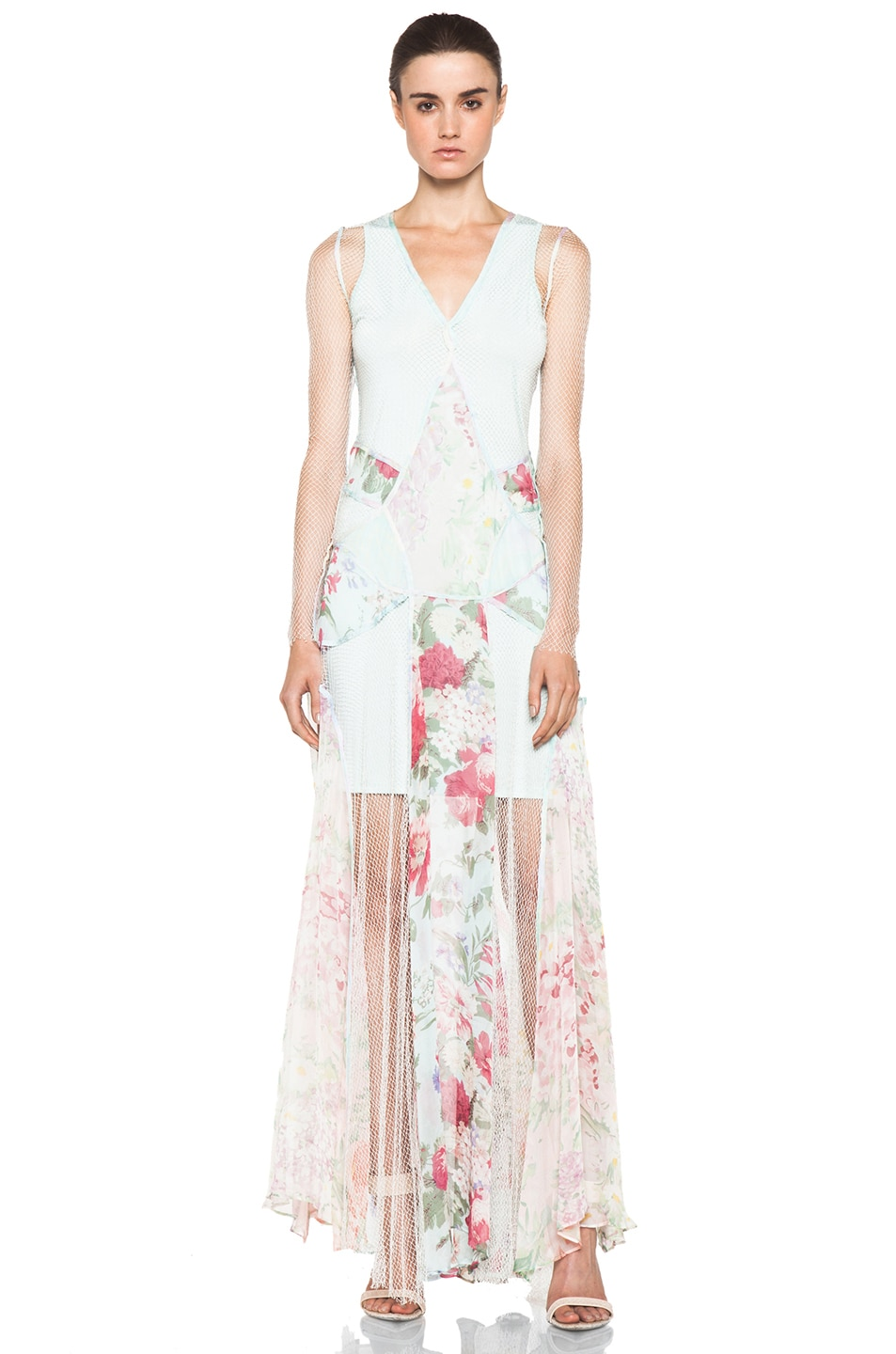 Image 1 of Zimmermann Clieque Paneled Fishnet Dress in Floral