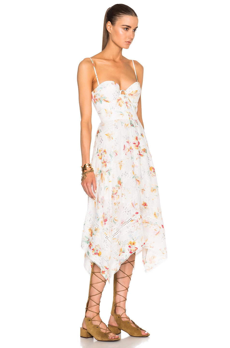 Image 3 of Zimmermann Belle Bustier Dress in Floral Embroidery