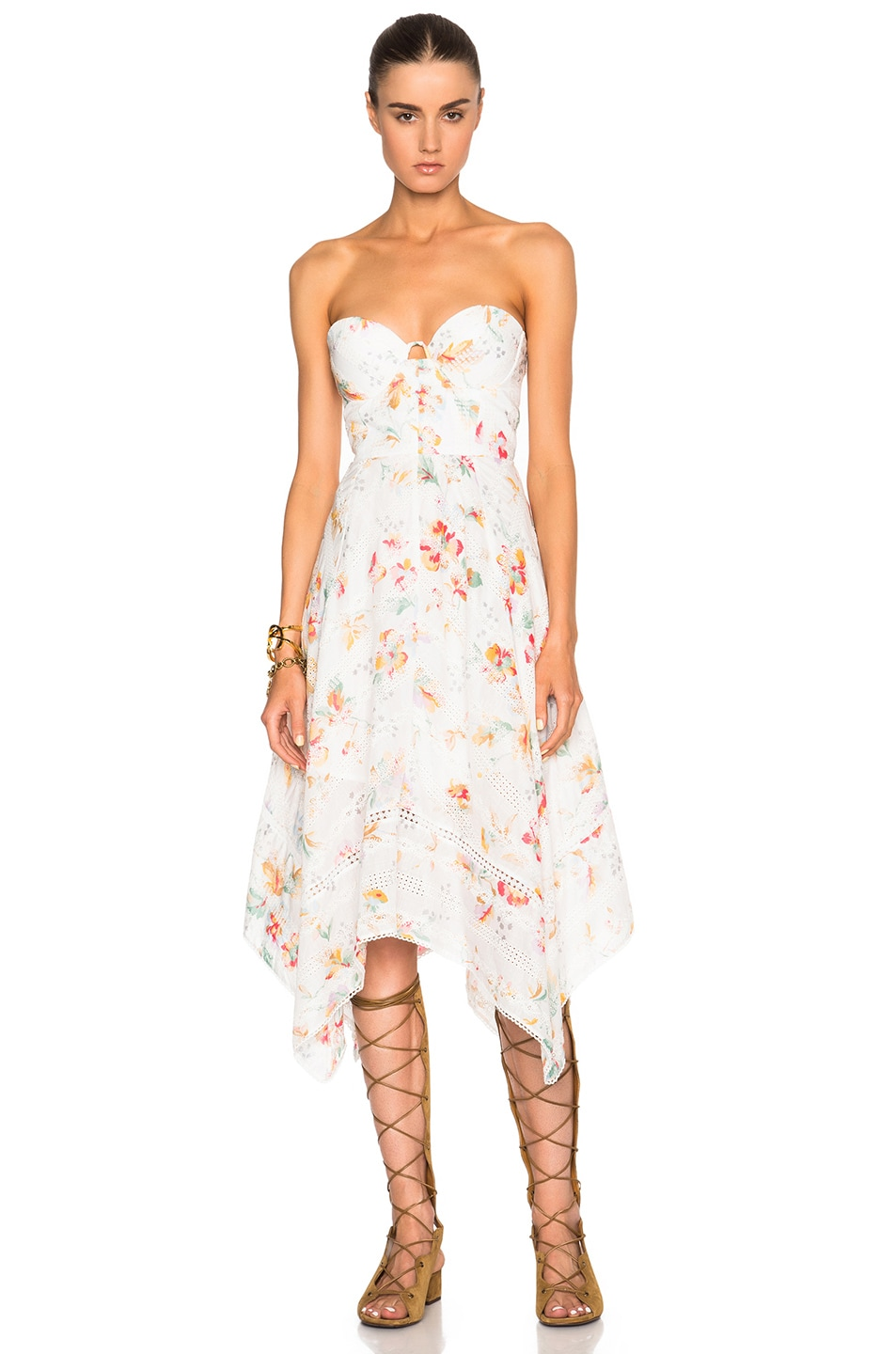 Image 4 of Zimmermann Belle Bustier Dress in Floral Embroidery