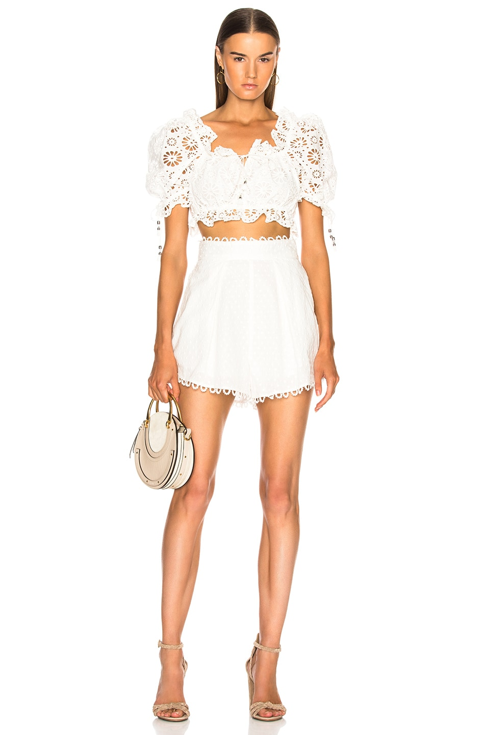 Image 4 of Zimmermann Melody High Waist Short in Ivory