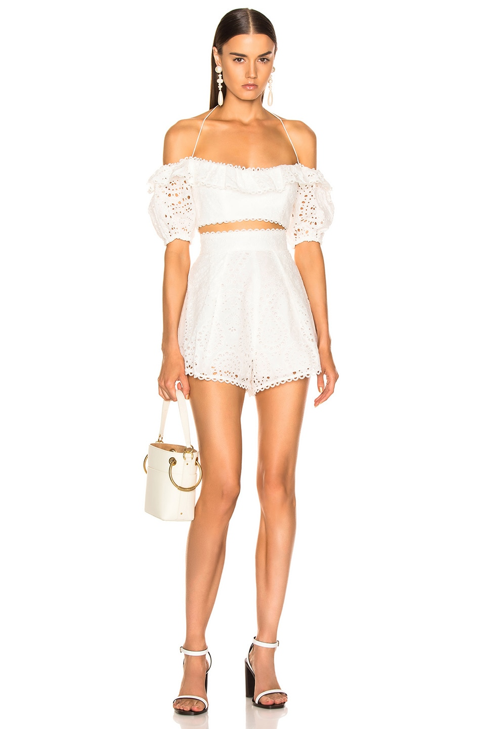 Image 4 of Zimmermann Heathers High Waisted Short in Ivory