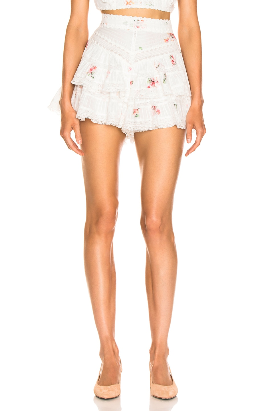 Image 1 of Zimmermann Heathers Pintuck Frill Short in Floating Bouquet