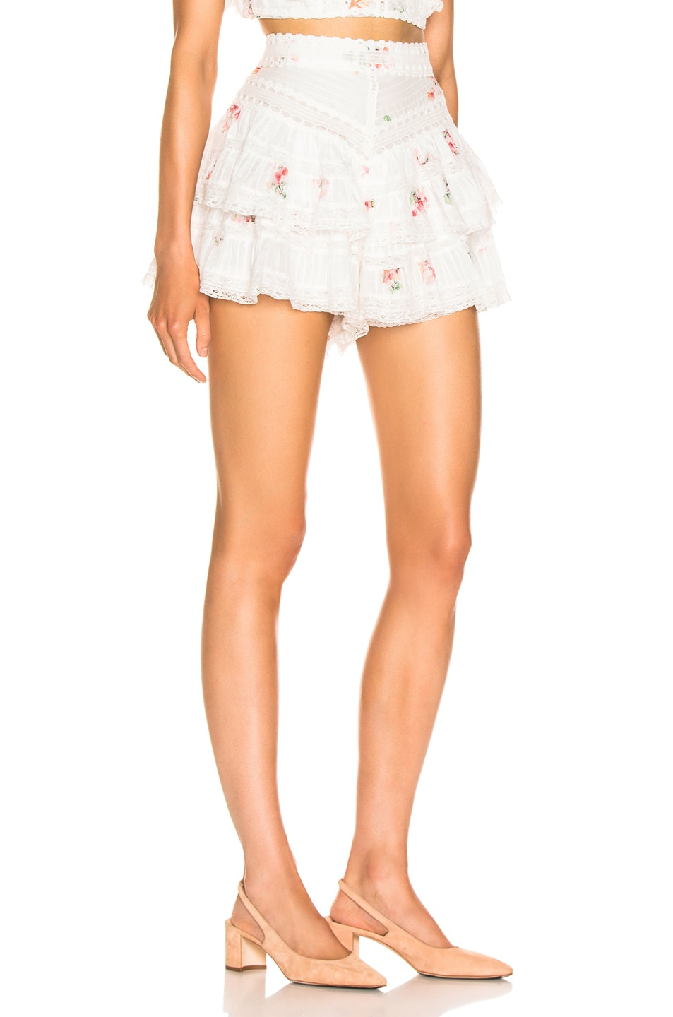 Image 2 of Zimmermann Heathers Pintuck Frill Short in Floating Bouquet